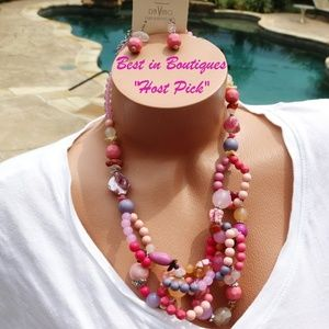 Chunky Boho Necklace Set Pink Purple Bead Stone